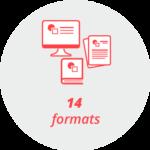 "Pictogram ""14 formats"": Computer screen, books, leaflets"