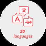 """Pictogram """"20 languages"""": speech bubbles with different alphabets"""