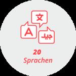 """Piktogramm """"20 Sprachen"""": Sprechblasen mit verschiedenen Alphabeten"""