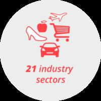 "Pictogram ""21 industry sectors"": a car, a plane, a shopping cart, a shoe, an apple"