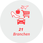 """Piktogramm """"21 Branchen"""": ein Auto, Flugzeug, Einkaufswagen, Schuh, Apfel"""