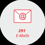 """Piktogramm """"291 E-Mails"""": Briefumschlag mit @-Symbol"""