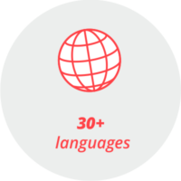 """Pictogram """"more than 30 languages"""": a globe and the words """"30+ languages"""""""