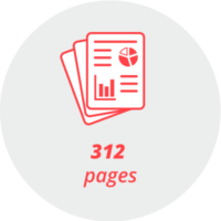 """Pictogram """"312 pages"""": stylized pages with graphic elements"""