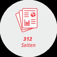"""Piktogramm """"312 Seiten"""": Stilisierte Seiten mit grafischen Elementen"""