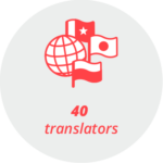 """Pictogram """"40 translators"""": a globe surrounded by different flags"""