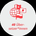 """Piktogramm """"40 Übersetzer*innen"""": ein Erdball und verschiedene Fahnen"""