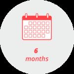 """Pictogram """"6 months"""": a calendar page"""