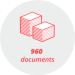 """Pictogram """"960 documents"""": two stacks of paper"""