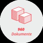 """Piktogramm """"960 Dokumente"""": Stapel von Blättern"""