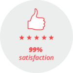 """Pictogram """"99% satisfaction"""": Thumbs up and five stars"""