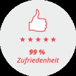 """Piktogramm """"99 % Zufriedenheit"""": Daumen hoch und 5 Sterne"""